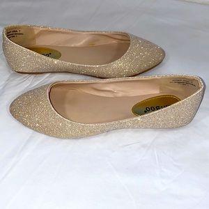 Bamboo Golden Sparkle Ballerina Flats